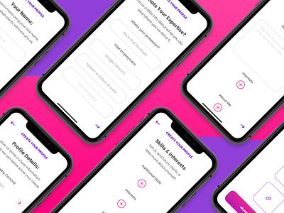 Muster - Profile Creation purple pink mobile vector entrepreneurs branding hiring app ux ui