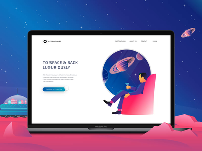 Astro Tours Animated xd vector design animation space-travel space stars app ux ui illustration branding