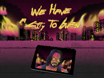 Johnny Silverhand Pixel Art illos illo illustration we burn city keanu reeves cyberpunk pink pixelart design