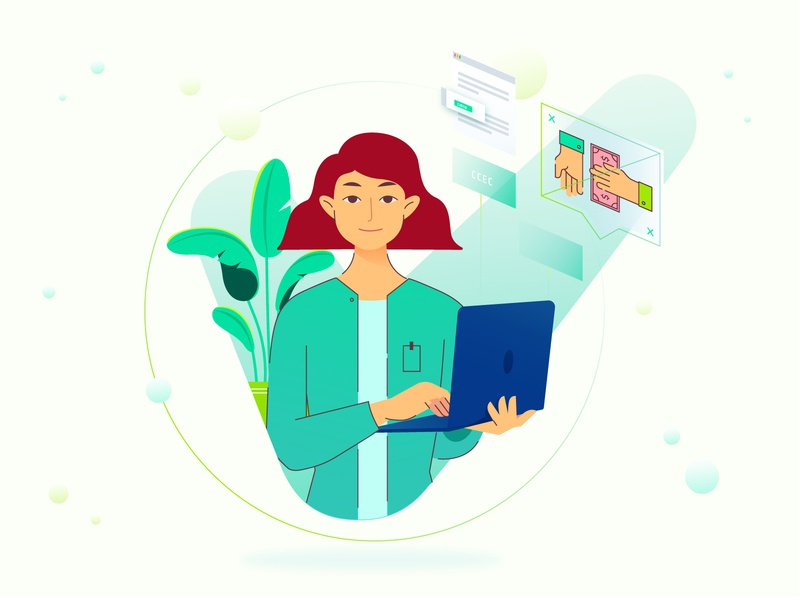 Office girl characterdesign yellow green plant computer office woman girl character vector design colorful illustration