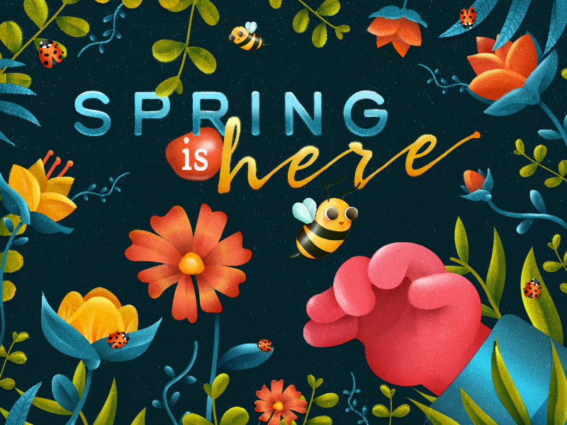 Spring is here plants happy spring flowers bee photoshop design colorful illustration