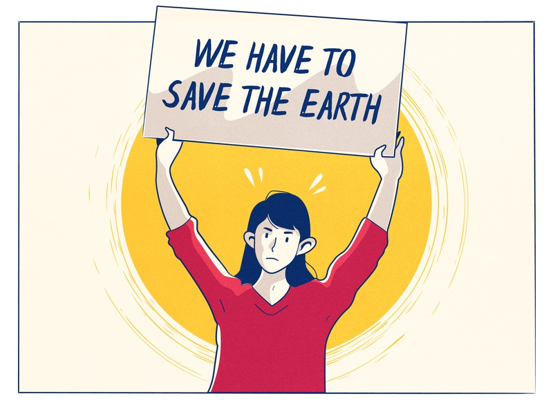 Important message for us all girl red yellow character pollution save earth photoshop colorful illustration