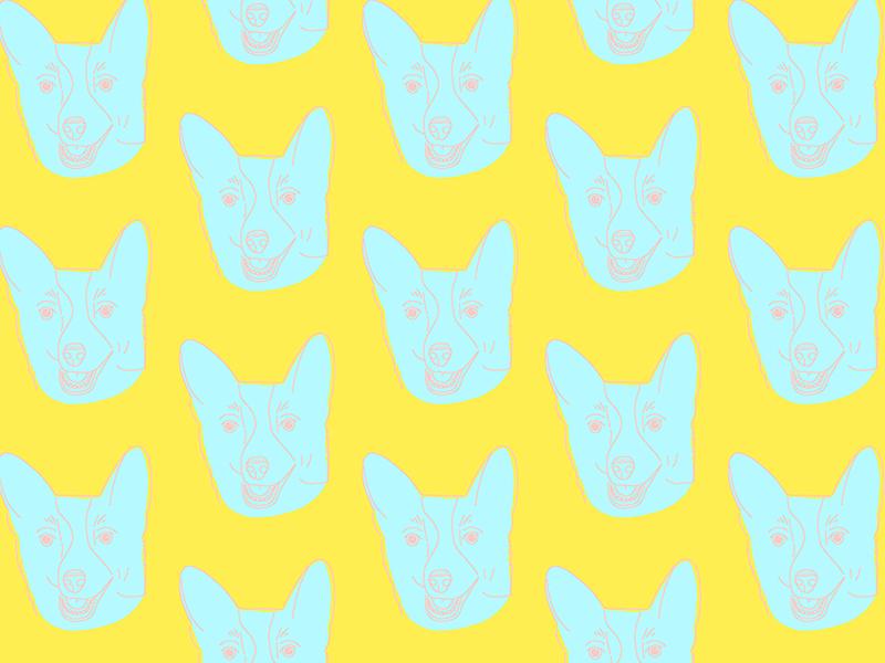 Ode to Sprinkles pastel blue yellow bright colors pattern design surface design pattern corgis corgi puppy pup