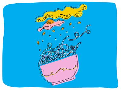 Ramen on the Run handdrawn illustration pho broth egg noodles pastel pink blue ramen