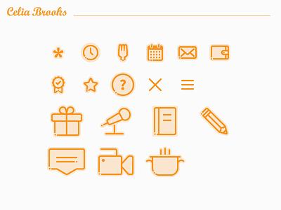 Custom Icons — Celia Brooks esoteric designs justin marazita marazita food expert tours writer vector web design custom ui pixel perfect icons