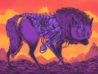 Cyberjackal design animal art nature sunrise illustration biomechanical robot cyborg jackalope animal cyberpunk