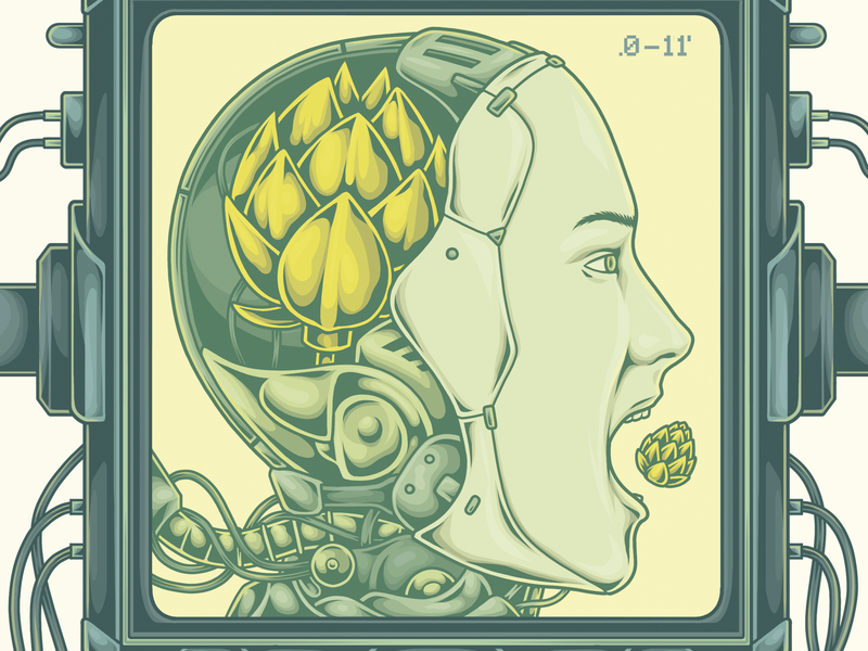 Dogma Cervejaria - The hop is on the head II photoshop art photoshop adobe photoshop beer technology biomechanical machina hop cyberpunk illustration beer packaging beer branding beer can beer label