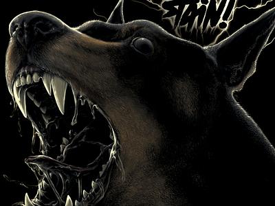 Stain! - Inner rage tee tee design clothing evil realistic sketchbook pro ipadpro animal art shirt rage angry dog dobberman