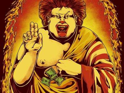Stain - Eat Fast Die Young horror evil capitalism graphic tee coke food and drink graphic design art fastfood fries burger food shirt tee design photoshop design illustration photoshop art clown adobe photoshop