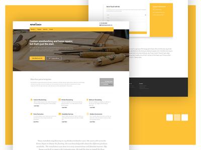 The Repair Coach Website handyman site repair yellow ui web design