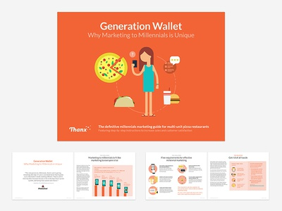 Thanx Pizza Campaign eBook 2 marketing publication layout ebook graphs data vis illustration flat