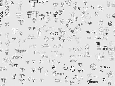 Thanx logo sketches id identity branding logo paper pencil sketch