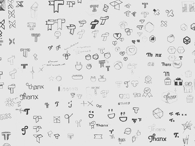 Thanx logo sketches id identity branding logo paper pencil sketch