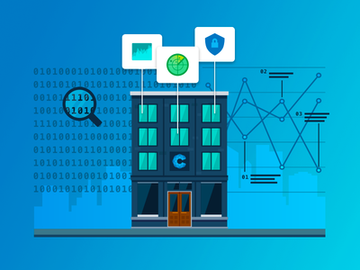 Cyber Analysis cyber security flat illustration data analysis