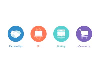partnership icons laptop servers shopping ecommerce e-commerce hosting api partners partnerships icons