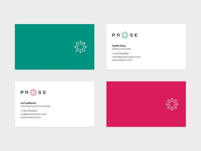 Prose business cards & colors startup branding print business card design business cards branding logo