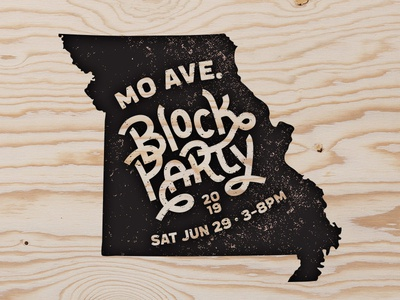 MO Ave. Block Party 2019 st. louis block printing hand lettering logo handlettering typography logo event