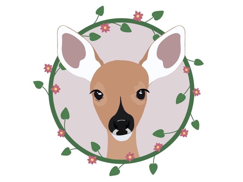 Cute deer illustration in a floral frame wreath frame leaves flowers floral procreateapp procreate digital art animal cute animals illustration