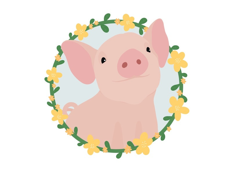 Cute piglet illustration in a floral wreath frame wreath floral flowers farm piggy piglet pig procreateapp procreate digital art animal pet cute animals illustrator