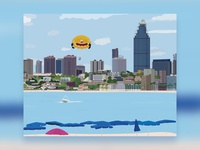 Benidorm Beach and Buildings Illustration
