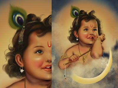 A Vintage Poster of Bal Krishna (Indian God) digital portrait portrait artist portrait illustrator graphic design procreate tips ipadpro procreate artist vintage poster digital painting painting design india graphics art illustration