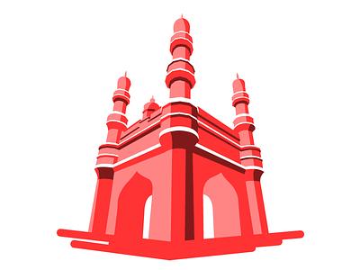 Charminar illustration graphics design art ancient telangana hyderabad monument indian india charminar