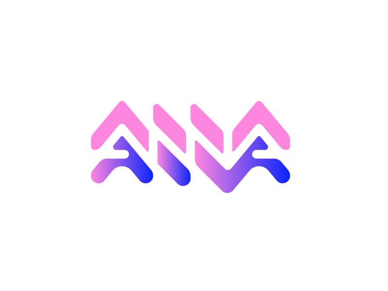 Anna Logo anna gradient logo pink logo pink colorfull typography gradient visual identity branding logo design logo vector