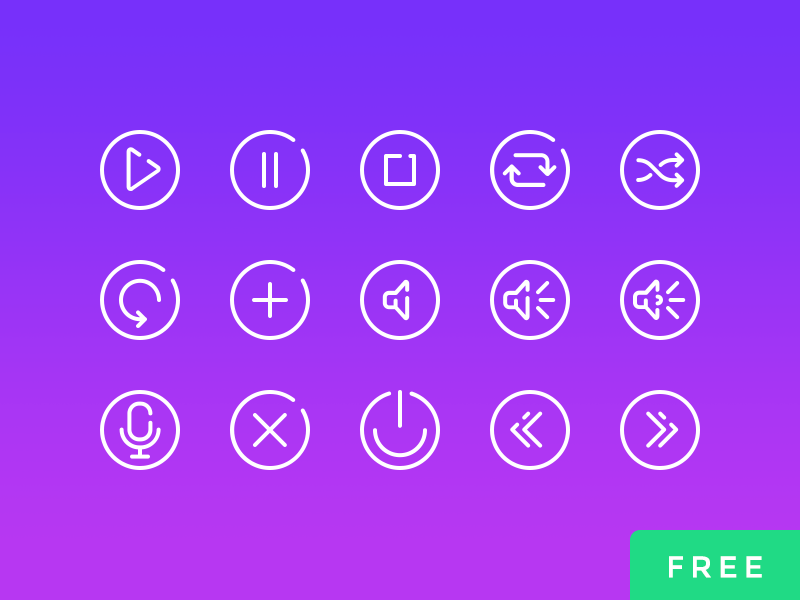 Audio Controls - 25 Free Vector Icons controls audio icons ui free vector icons