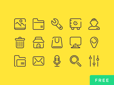 25 Free UI Icons gui elements outline icons set ui graphic design outline free icon vector