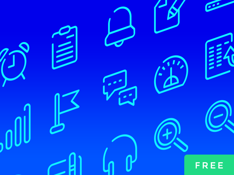 Neon Blue UI Icons Free psd gui elements outline icons set ui graphic design outline free icon vector