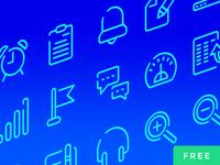Neon Blue UI Icons Free