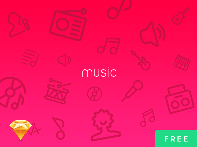 Music UI Icons Free PSD + Sketch sketch psd music audio icons ui free vector icons