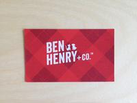 Ben Henry + Co. Business Card