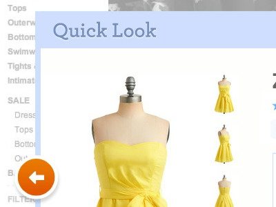 Modcloth Quicklook redesign challenge icons design ui