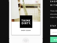 Think Dirty™ App landing page