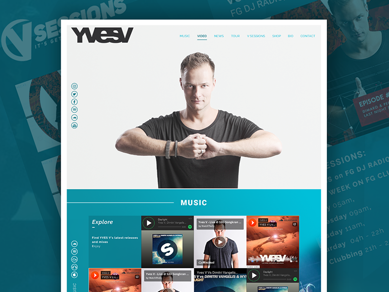 YvesV Website web dj tomorrowland webdesign onepager blue minimal layout flat clean