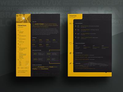 My Personal Resume, With Free PSD cv portfolio yellow dark freepsd print my creative new psd free resume