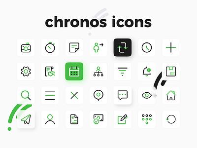 chronos icons ui design uidesign mobile app icons pack design system iconset