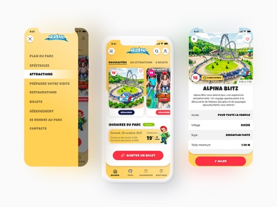 Nigloland Application nigloland park amusement park designer app attraction mobile uxdesign ux ui design adobe xd