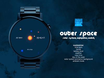 Wearable Watch - Outer Space Watchface qubsik digit smartwatch watchface space watch wearable outer space solar system