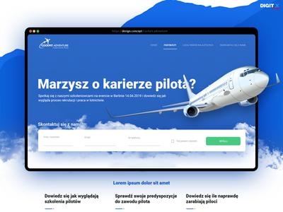 Concept - CockpitAdventure landing page design user experience website designthinking interactiondesign digitx webdesign user interface redesign layout sky airplane interface ui landing