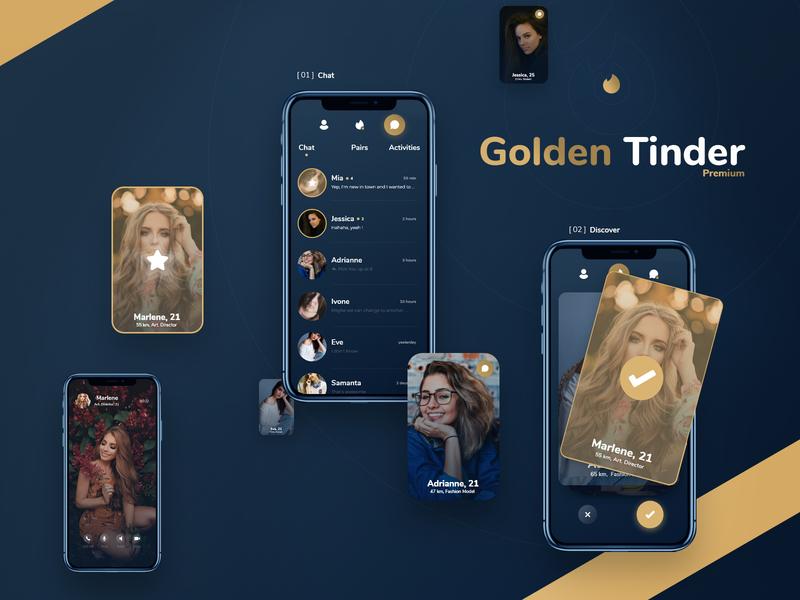 Golden Tinder - Dating App Redesign + Free Xd File free digitx freebie mobile love product design badoo tinder app dating