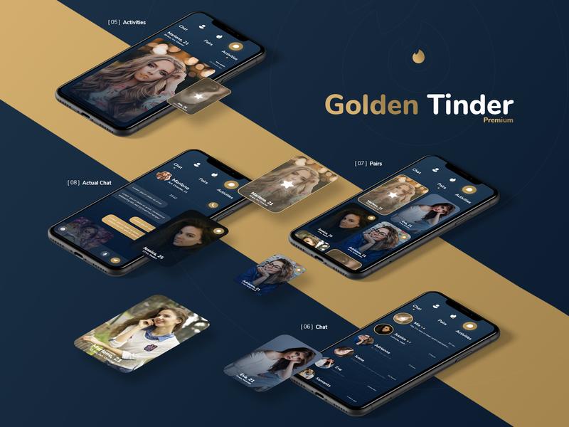 Golden Tinder - Dating App Redesign + Free Xd File tinder product design mobile love freebie free digitx dating badoo app