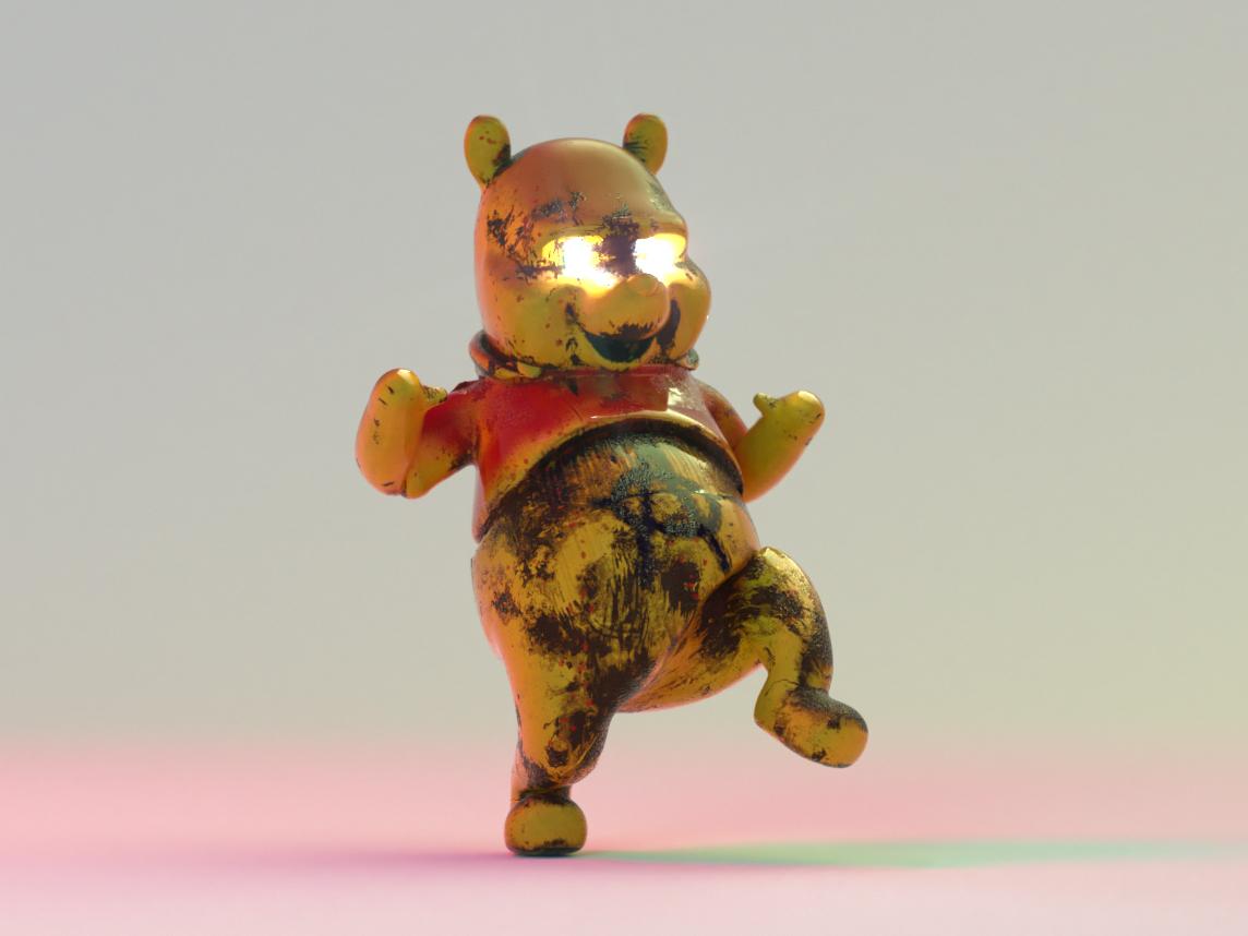 Evil Pooh digital art 3d cinema 4d disney