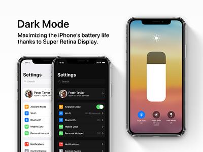 iOS 13 Concept - Dark Mode ios 13 oled control center dark mode sketch concept design ios ux ui apple