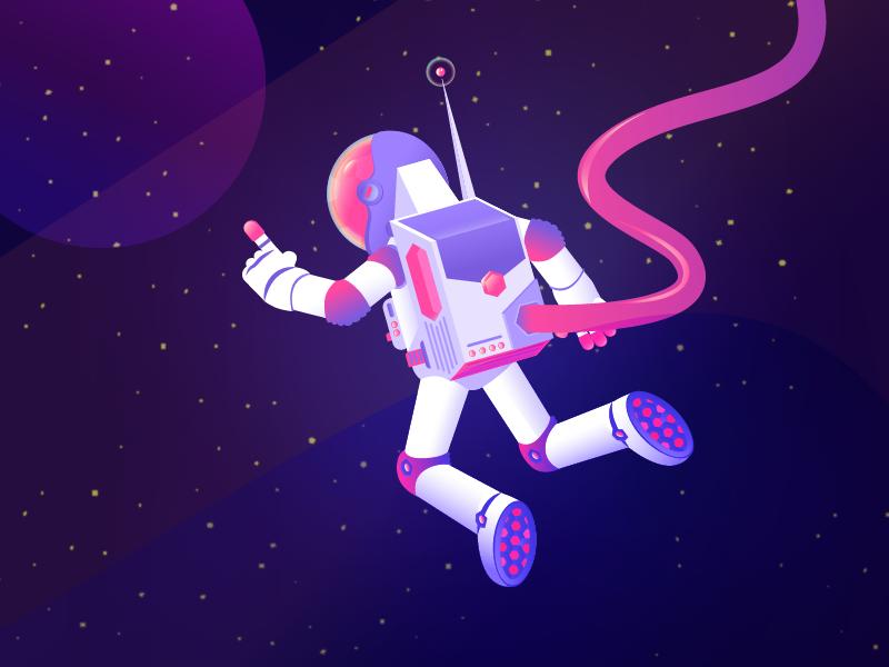 Floating Space Man By Bing Rijper On Dribbble
