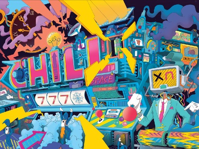 Chill out 777 slotmachine arcade ice space chill time businessman character photoshop flcl