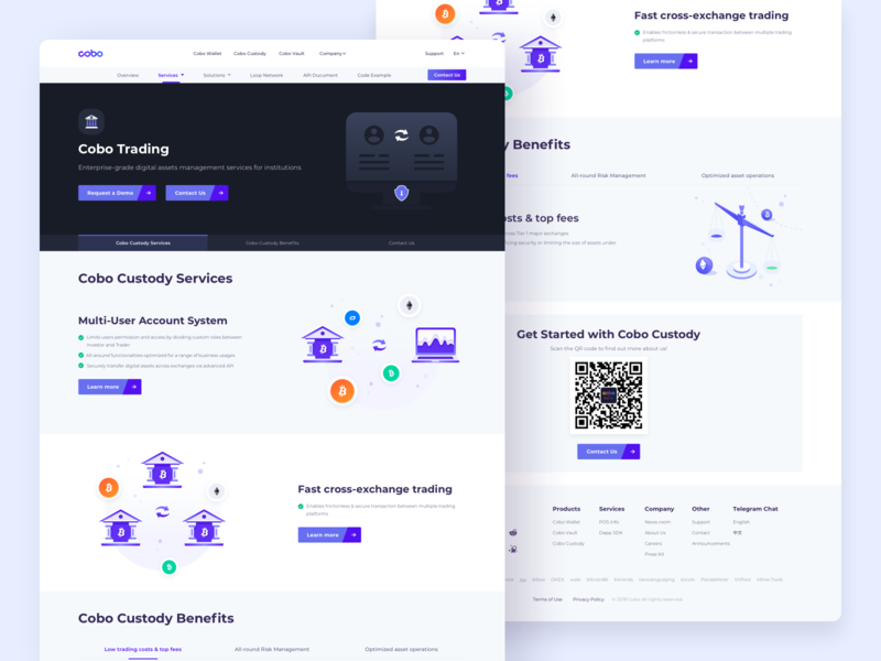 Cobo Trading Web Design btc services crypto exchange custody multiply cryptocurrency trading platform webdesign website landingpage