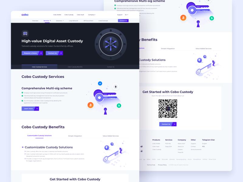 High value Digital Asset Web Design landingpage benefit asset cryptocurrency branding design custody multi-sig website