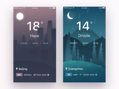 weather-app forest drop drizzle social mobile ios interface illustration haze buiding app weather